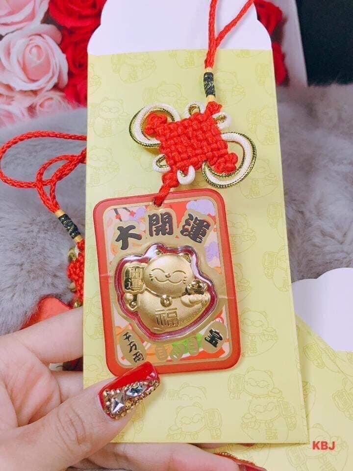 Bao LỘC Mèo Thần Tài Mạ Vàng