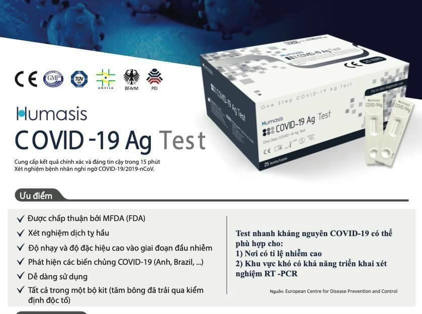 BỘ KIT TEST NHANH CΟVΙD-19 — Hãng ΗUΜASΙS Made in Korea